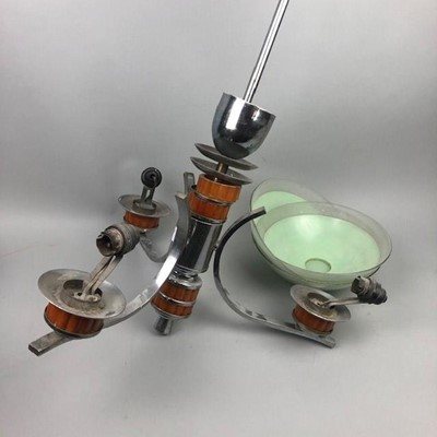 Lot 20 - AN ART DECO THREE BRANCH CEILING LIGHT AND THREE SHADES