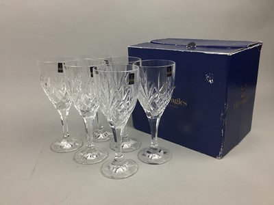 Lot 23 - A SET OF SIX GLEN EAGLES WINE GLASSES AND OTHERS