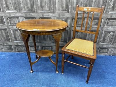 Lot 82 - A MAHOGANY OCCASIONAL TABLE AND A MAHOGANY SINGLE CHAIR