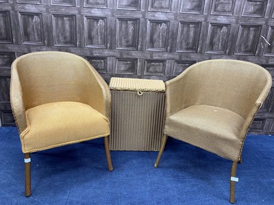 Lot 77 - A PAIR OF CANE CHAIRS AND LINEN BASKET
