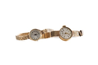 Lot 737 - TWO LADY'S NINE CARAT GOLD WATCHES