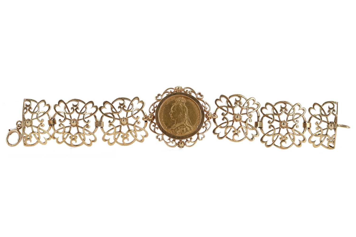 Lot 46 - A GOLD SOVEREIGN MOUNTED IN A BRACELET