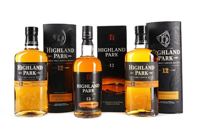 Lot 24 - THREE BOTTLES OF HIGHLAND PARK AGED 12 YEARS