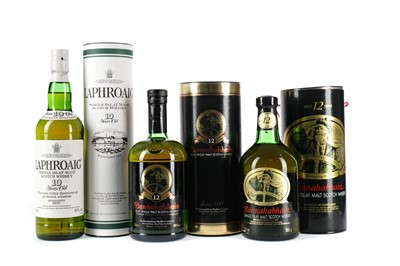 Lot 26 - TWO BOTTLES OF BUNNAHABHAIN AGED 12 YEARS AND ONE LAPHROAIG 10 YEARS