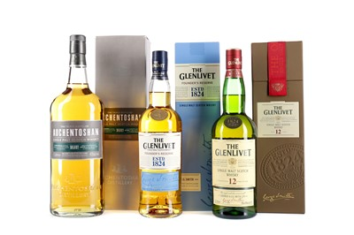 Lot 27 - GLENLIVET AGED 12 YEARS, FOUNDERS RESERVE AND AUCHENTOSHAN SELECT