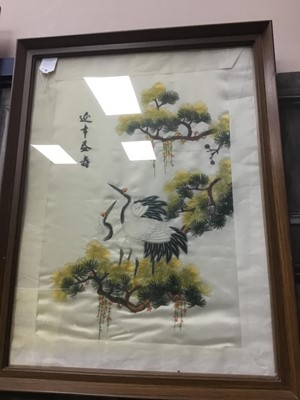 Lot 723 - AN EARLY 20TH CENTURY JAPANESE FABRIC AND PAINTED PICTURE AND THREE OTHER PICTURES