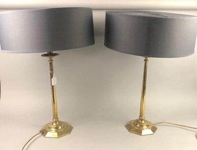Lot 32 - A PAIR OF BRASS CANDLESTICK TABLE LAMPS