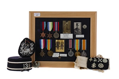 Lot 1625 - A FRAMED GROUP OF WWI & WWII SERVICE MEDALS