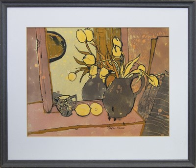 Lot 598 - STILL LIFE WITH TULIPS, A WATERCOLOUR BY CHRISTINE MCARTHUR