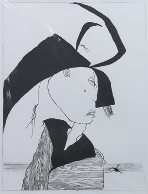 Lot 556 - WOMAN WITH SHAWL, A LITHOGRAPH BY PAT DOUTHWAITE