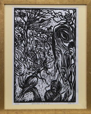 Lot 553 - DON'T FENCE ME IN, A WOODCUT BY JOSEPH URIE