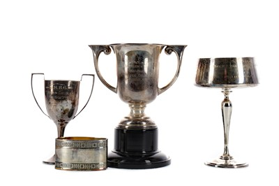 Lot 465 - THREE EARLY 20TH CENTURY SILVER TROPHY CUPS, ALONG WITH A NAPKIN RING
