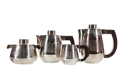 Lot 468 - AN EARLY 20TH CENTURY MODERNIST SILVER PLATED TEA SERVICE
