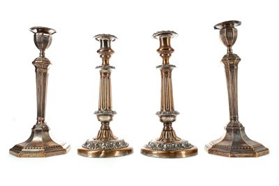 Lot 94 - TWO PAIRS OF MID-19TH CENTURY SHEFFIELD PLATE CANDLESTICKS AND A CANDELABRUM