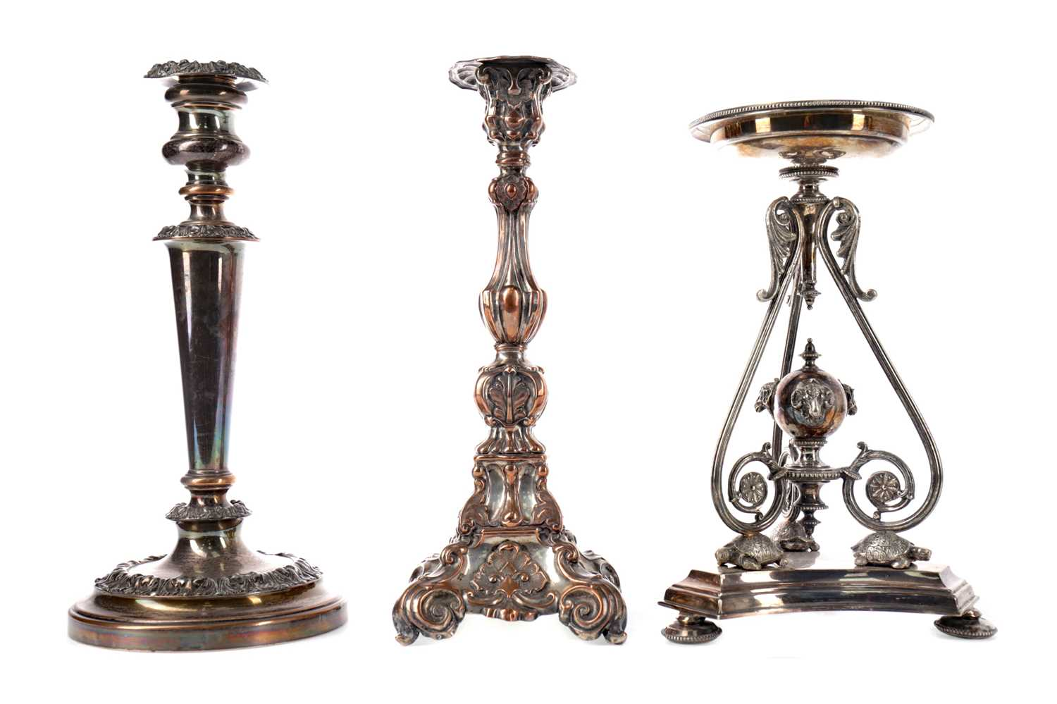Lot 93 - A LATE 19TH CENTURY SILVER PLATED CENTREPIECE, ALONG WITH FOUR CANDLESTICKS