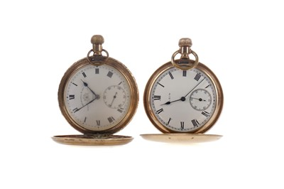 Lot 742 - TWO GOLD PLATED FULL HUNTER POCKET WATCHES