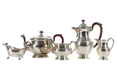 Lot 471 - A GEORGE VI SILVER FOUR-PIECE TEA AND COFFEE SERVICE, ALONG WITH A MATCHED SAUCE BOAT