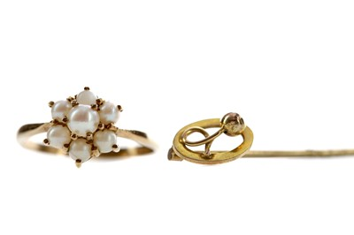Lot 389 - A PEARL RING AND A STICK PIN