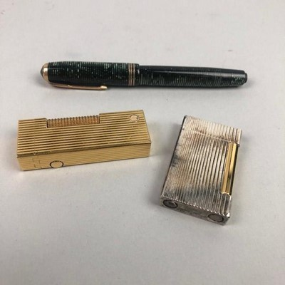 Lot 34 - A DUNHILL LIGHTER, ALONG WITH A DUNHILL LIGHTER AND A FOUNTAIN PEN