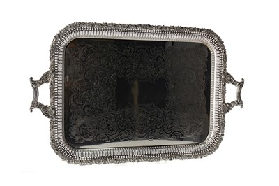 Lot 477 - A LATE VICTORIAN SILVER PLATED TEA TRAY