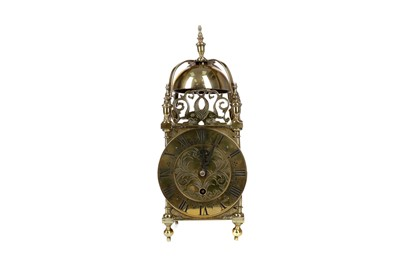 Lot 1108 - A REPRODUCTION BRASS LANTERN CLOCK