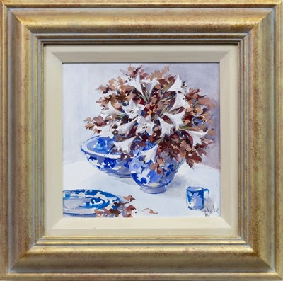 Lot 526 - LILLIES AND BLUE, AN ACRYLIC BY ETHEL WALKER