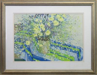 Lot 547 - SPLASH OF FLOWERS, A GOUACHE BY SYLVIA ALLEN