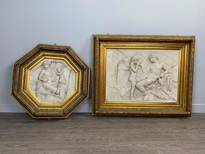Lot 1630 - A LOT OF TWO LATE VICTORIAN SIMULATED MARBLE PANELS AFTER THE ANTIQUE