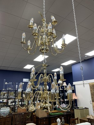 Lot 43 - A PAIR OF BRASS CHANDELIERS, ALONG WITH ANOTHER