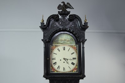Lot 1111 - A VICTORIAN EBONISED LONGCASE CLOCK
