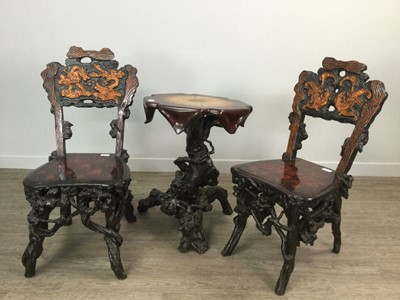 Lot 1627 - A SMALL GROTTO STYLE OCCASIONAL TABLE AND TWO CHAIRS