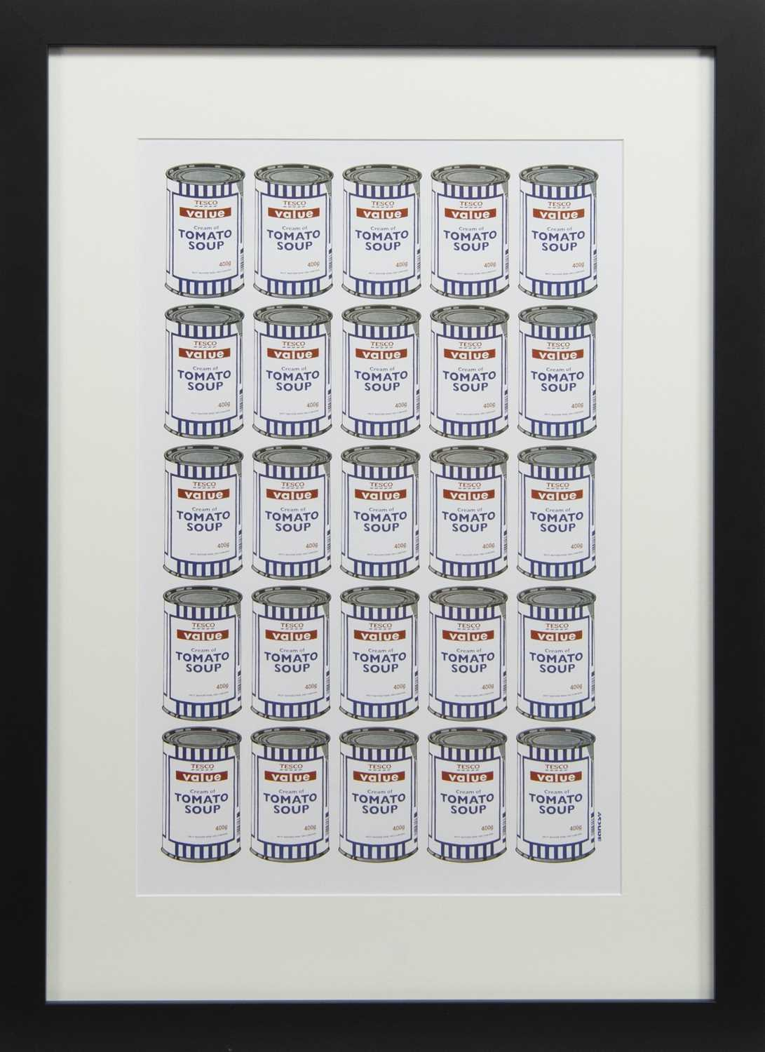 Lot 535 - TESCO VALUE TOMATO SOUP CANS, A PRINT AFTER BANKSY