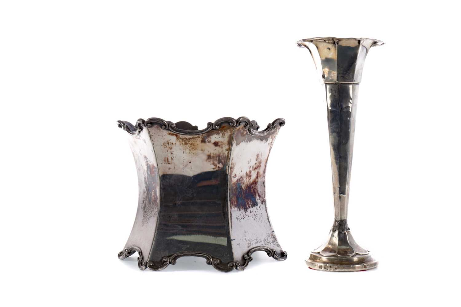 Lot 92 - A GEORGE V SILVER TRUMPET VASE, ALONG WITH A PLANTER