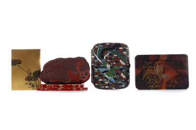 Lot 511 - A LATE 19TH CENTURY CHINESE CLOISONNE CIGARETTE CASE, ALONG WITH THREE BOXES