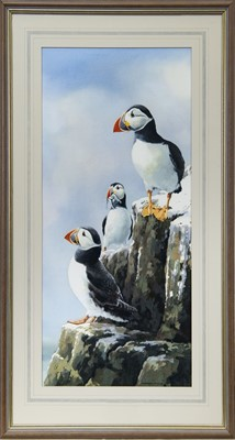 Lot 36 - THREE PUFFINS, A WATERCOLOUR BY HEATHER M INSH