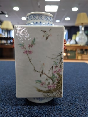 Lot 32 - A LATE 19TH CENTURY CHINESE FAMILLE ROSE VASE, ALONG WITH ANOTHER AND AN INCENSE BURNER