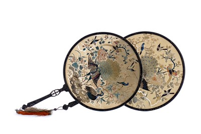 Lot 230 - A PAIR OF LATE 19TH CENTURY CHINESE SILK AND LACQUERED HAND FANS