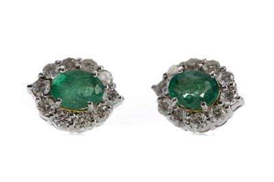 Lot 509 - A PAIR OF EMERALD AND DIAMOND EARRINGS