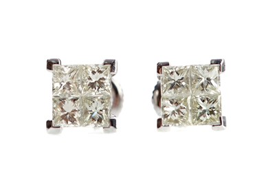 Lot 477 - A PAIR OF DIAMOND QUAD EARRINGS