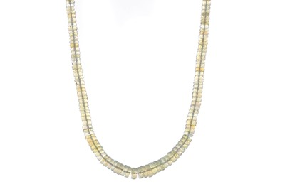 Lot 534 - A FACETED OPAL BEAD NECKLACE