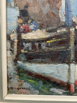 Lot 19 - EAST NEUK HARBOUR, AN OIL BY ARTHUR MACDONALD