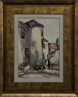 Lot 28 - VILLAGE COURTYARD, AN OIL BY ARTHUR MACDONALD