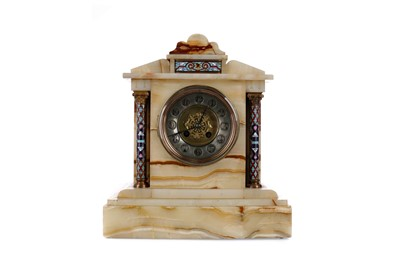 Lot 1109 - A LATE 19TH CENTURY ALABASTER AND CHAMPLEVE ENAMEL MANTEL CLOCK