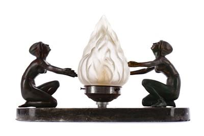 Lot 1632 - AN ART DECO FIGURAL LAMP