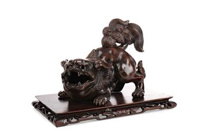 Lot 739 - A 20TH CENTURY CHINESE BRONZED POTTERY FOE DOG