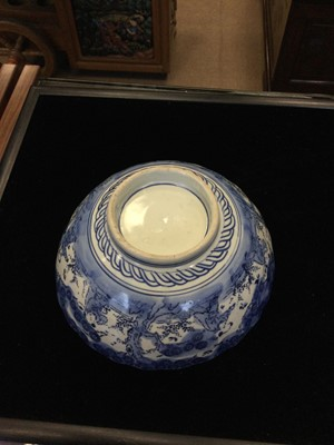 Lot 740 - A 19TH CENTURY JAPANESE IMARI BOWL AND OTHER ITEMS