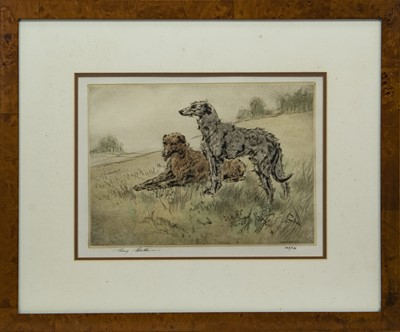 Lot 37 - DEERHOUNDS, A LIMITED EDITION COLOUR DRYPOINT BY HENRY WILKINSON