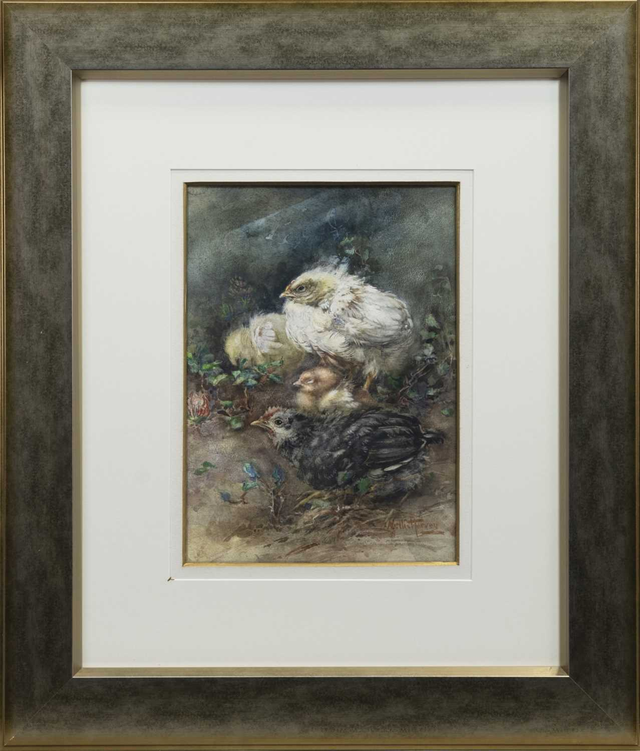 Lot 26 - CHICKS, A WATERCOLOUR BY NELLIE ELLEN HARVEY