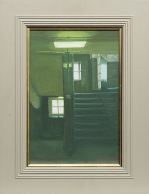 Lot 571 - STAIRWELL, GLASGOW SCHOOL OF ART, AN OIL BY ANDREW FITZPATRICK