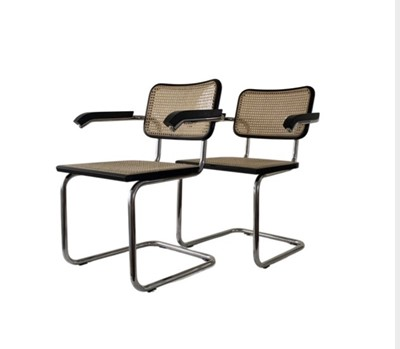 Lot 1637 - A CONTEMPORARY PAIR OF BRUER 'CESCA B33' ARMCHAIRS
